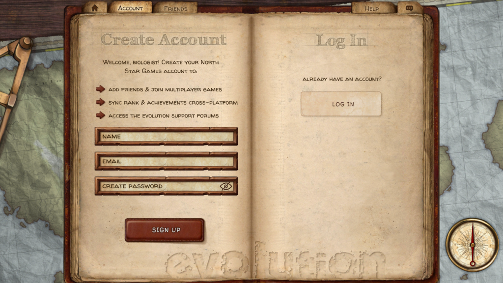 creating an account in evolution